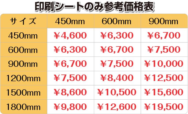 印刷シートのみ参考価格表